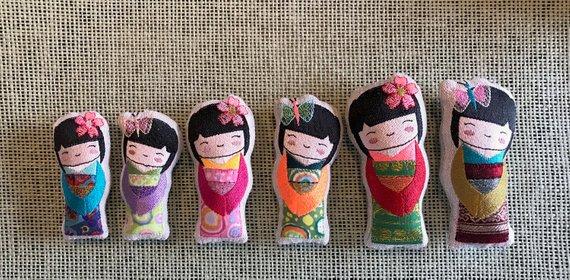 szablony laleczek japońskich