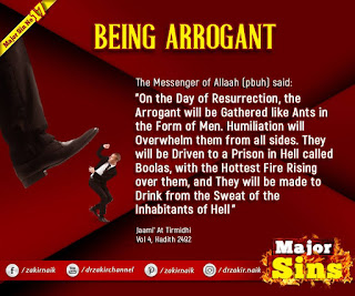 MAJOR SIN. 17. BEING ARROGANT