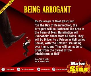 MAJOR SIN. 17. BEING ARROGANT