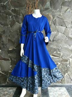 Gamis Batik Solo Dilan Biru