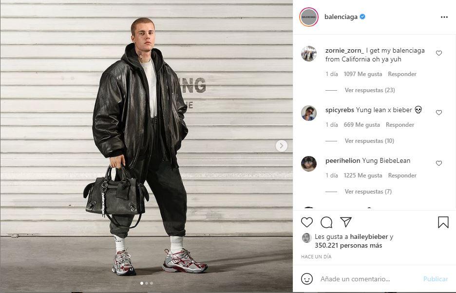 Justin Bieber posó para 'Balenciaga' con un bolso