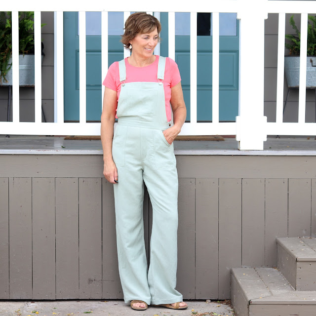 McCall's 7547 overall pattern made with Mood Fabrics' linen-rayon fabric