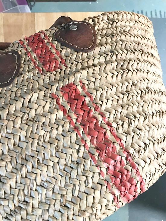 Straw basket with a grain sack stripe