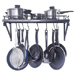 ZESPROKA Kitchen Wall Pot Pan Rack - 10 Hooks