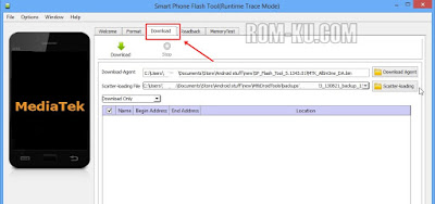 Klik tab menu download sp flashtool