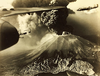 The volcano is being circled by American B-25 bombers