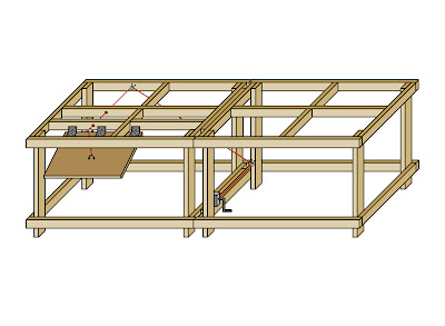 A digital 3D rendering of a 4 x 8 benchwork table with control panel and winch system