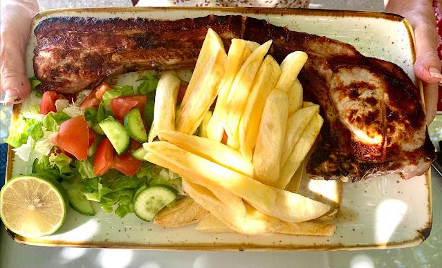 Cyprus giant pork chip at Klimataria Tavern, Mandria, Paphos