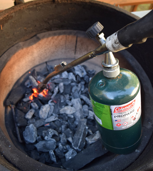 Lighting a Big Green Egg kamado grill with a JJ George Grill Torch
