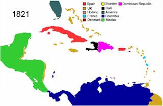 Mapa de las colonias en el Caribe en 1821