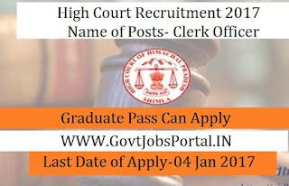 HP High Court Recruitment for 44 Clerk Officer Posts 2016-17