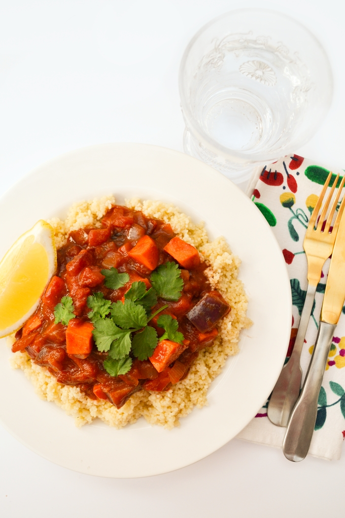 Aubergine, Sweet Potato and Metis Tagine