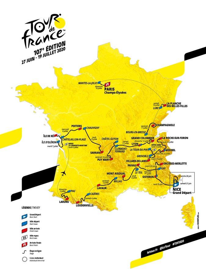TOUR DE FRANCIA 2020 - RECORRIDO
