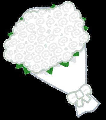 バラの花束のイラスト(白)