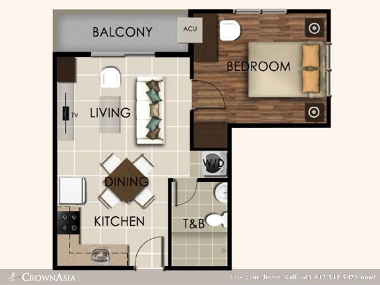 Floor Plan of Valenza Mansions - One Bedroom Citipad | One Bedroom CitiPad Condominium Unit for Sale Sta. Rosa Laguna
