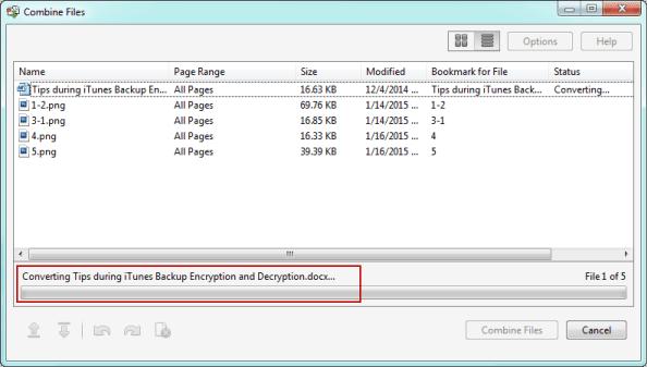 combine files into PDF document