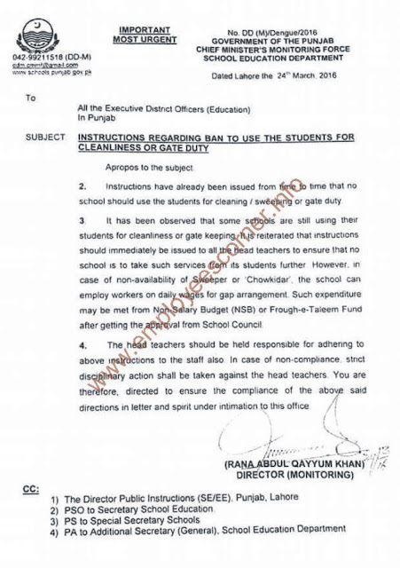 Ban Imposed to Use the Students for Cleanliness or Gate Duty in Schools Punjab