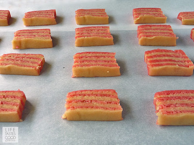 Striped Almond Cookies | by Life Tastes Good are beautiful striped cookies made with almond paste for a rich almond flavor with a bit of a crunch. Striped cookies look so professional, but are actually quite easy to make.