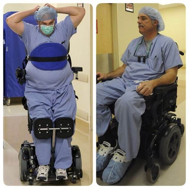 15 Pictures That Prove How Incredibly Powerful The Human Soul Can Be - Paralyzed doctor, Dr. Ted Rummel, still performs surgery thanks to his stand-up wheelchair.