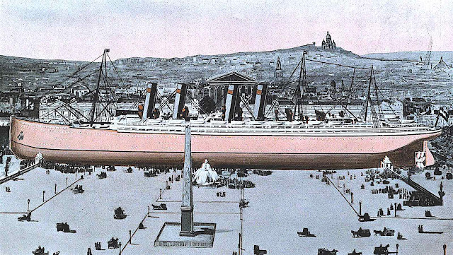 size comparison in 1913, an ocean liner in a city square