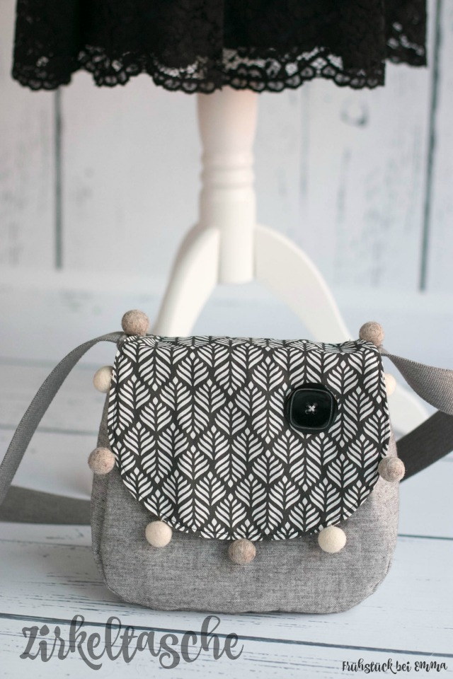 grau schwarz weiße Tasche nach dem Schnittmuster Zirkeltasche von Frühstück bei Emma - für das Taschenspieler Sew Along