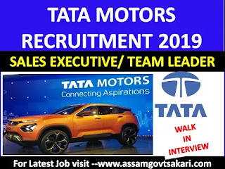 TATA Motors Recruitment 2019-Sales Executive/ Team Leader [Walk-in-Interview)