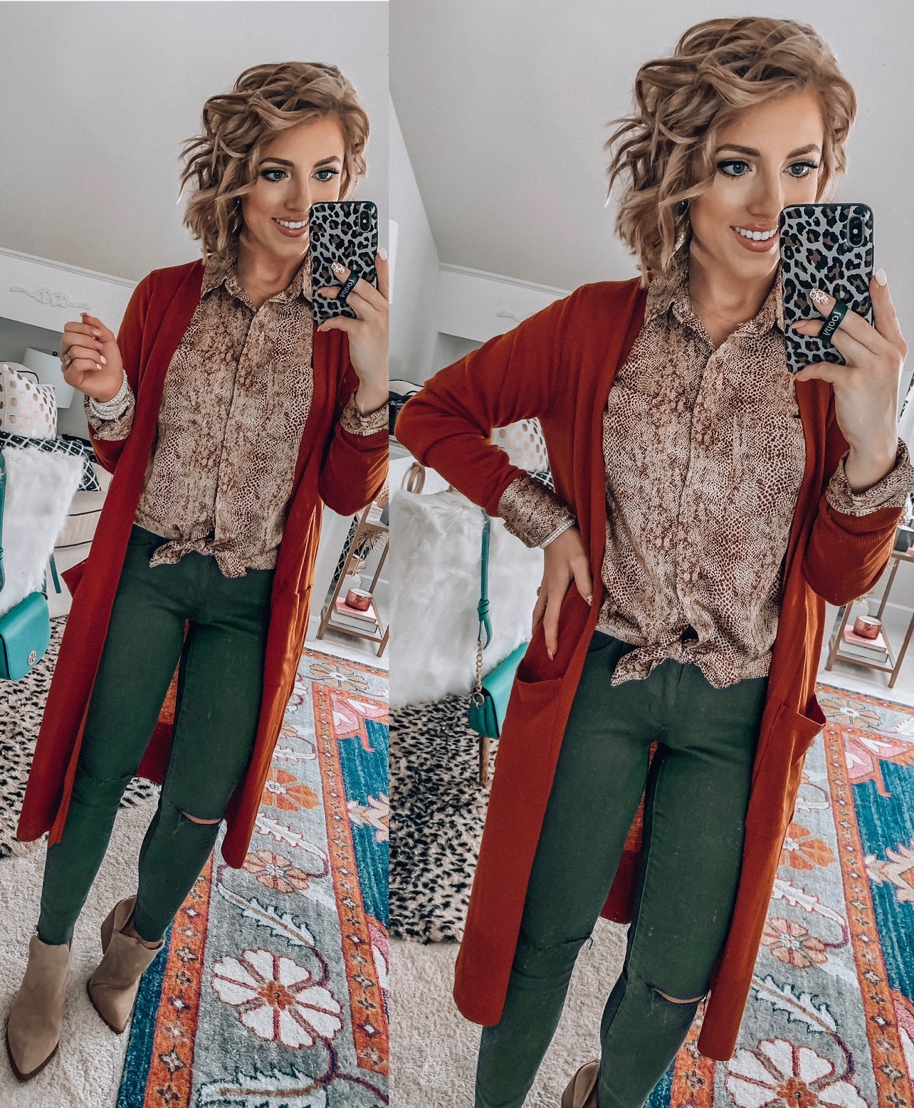 Target Fall Finds: Part One - Under $20 Snake Button Up Shirt, $20 Olive Green Jeggings, Under $30 Rust Cardigan - Something Delightful Blog