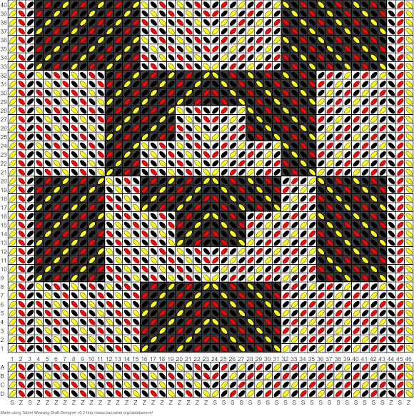 A tablet weaving draft for 46 tablets in black, red and yellow