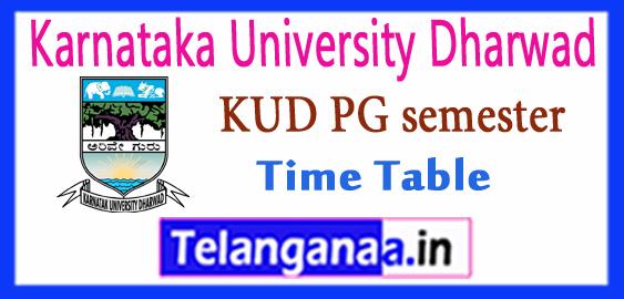 KUD Karnataka University Dharwad  PG MA M.Sc M.Com MBA MCA 1st 3rd Semester Time Table 2017-18 Admit Card