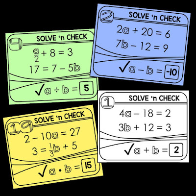 solving 2-step equations solve 'n check math task card activity