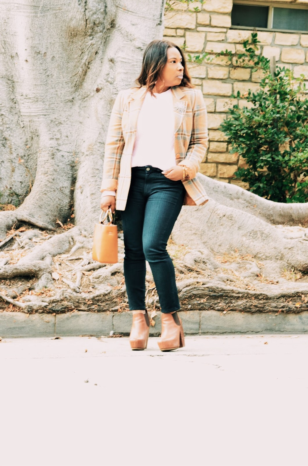 BCBG-Plaid-Jacket-Topshop-Two-tone-tan-ankle-booties-Paige-Denim-Skinny-Jeans-Mango-Crossbody-Mini-Bag-Jacket-Brooch-pin