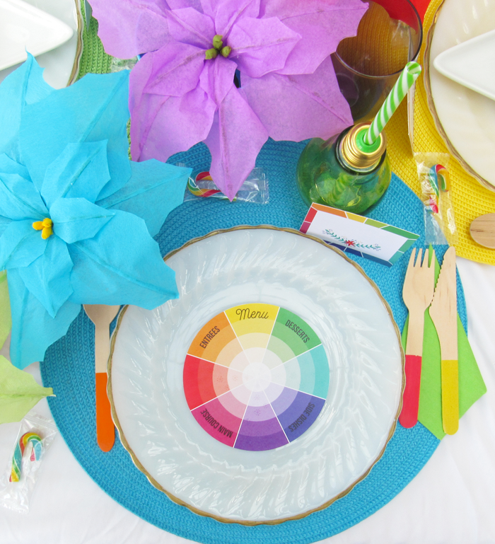 free printable color wheel menu card, place cards, color love, holidays, entertaining,