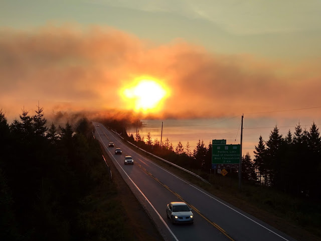 Cars emerging from the fog, Highway 107
