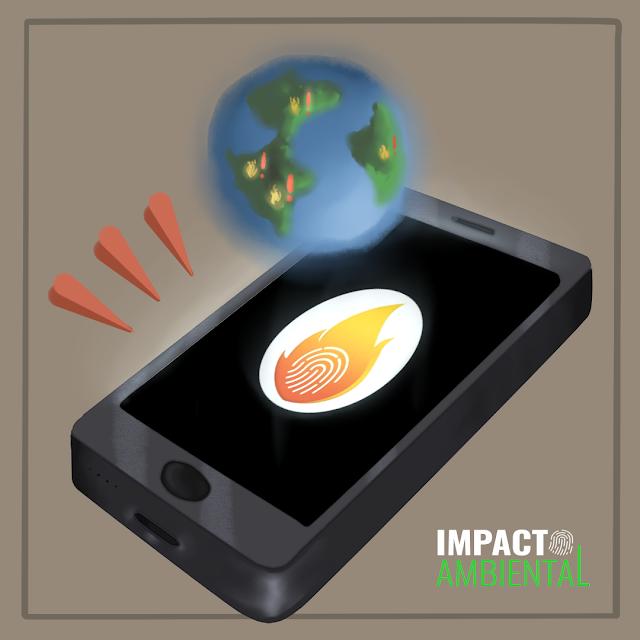 A imagem mostra o desenho de um smartphone com um desenho de fogo na tela. Acima do celular tem o desenho do planeta Terra com pequenos focos de queimadas e ao lado pequenos pontos de exclamação.