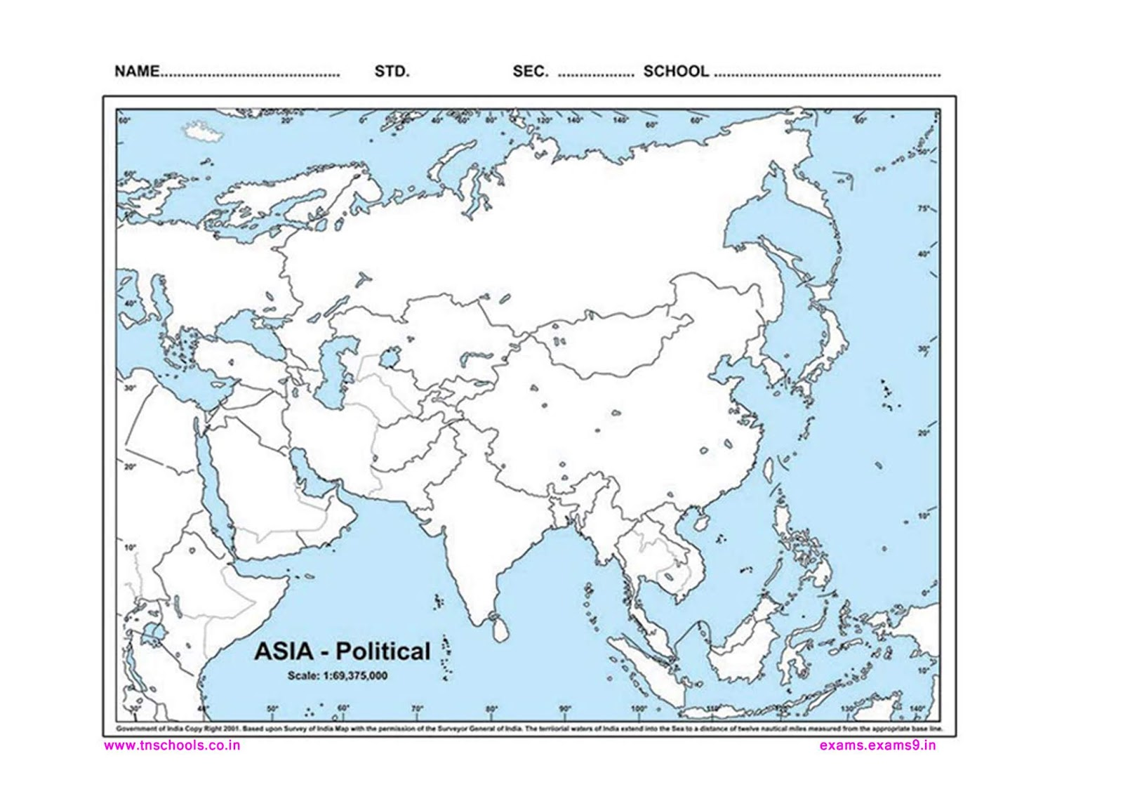 Asia Political Outline Map For School Students Tnschools