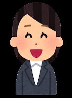 スーツを着た女性のイラスト(笑う顔)