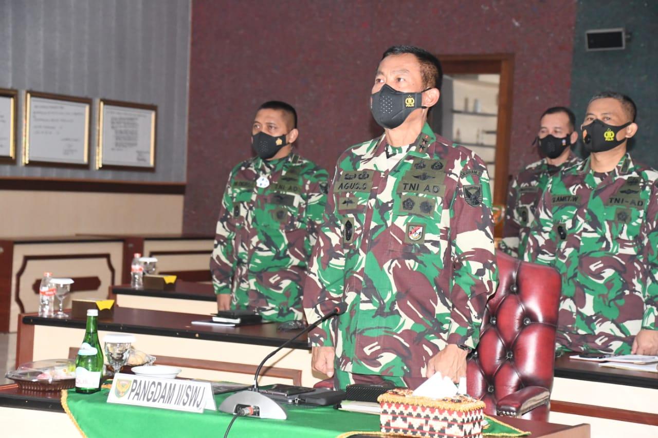 Pangdam IISwj Ikuti Rapim TNI 2021 Secara Virtual.