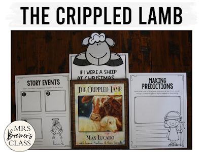 The Crippled Lamb book study Christmas literacy unit with Common Core aligned companion activities and a craftivity for K-1