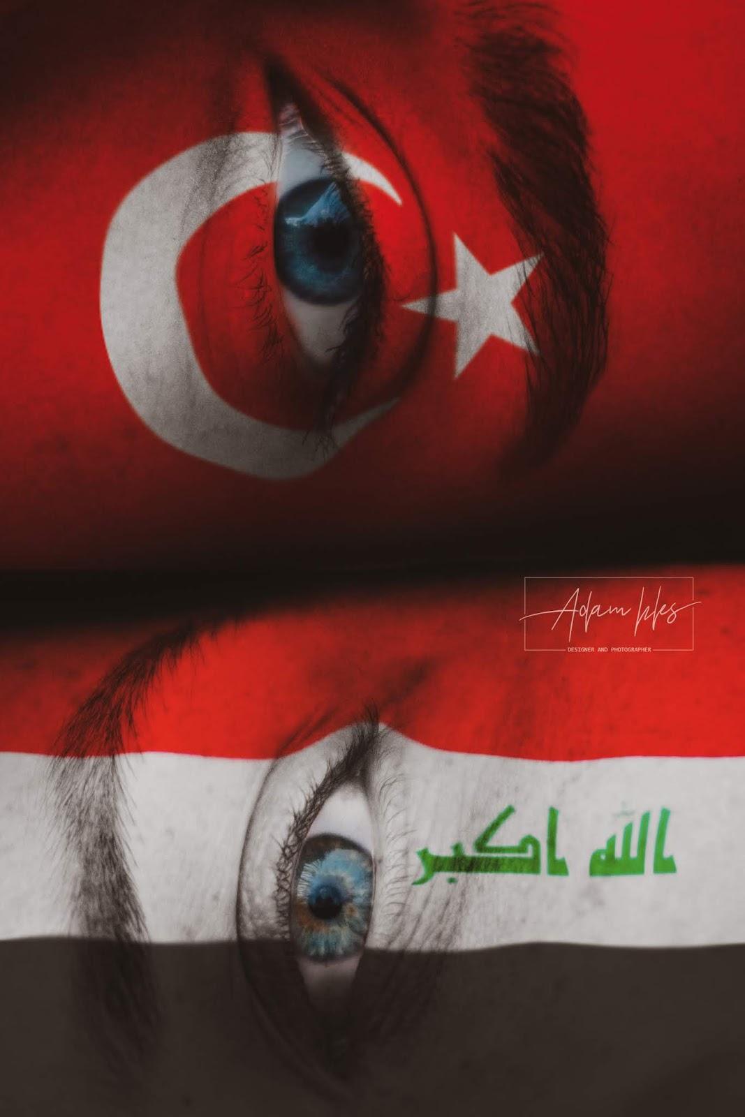 علم العراق وعلم تركيا