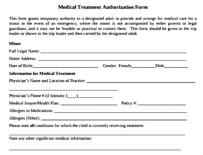 Child Medical Consent Form In Pdf MsWord And Ms Excel  Download
