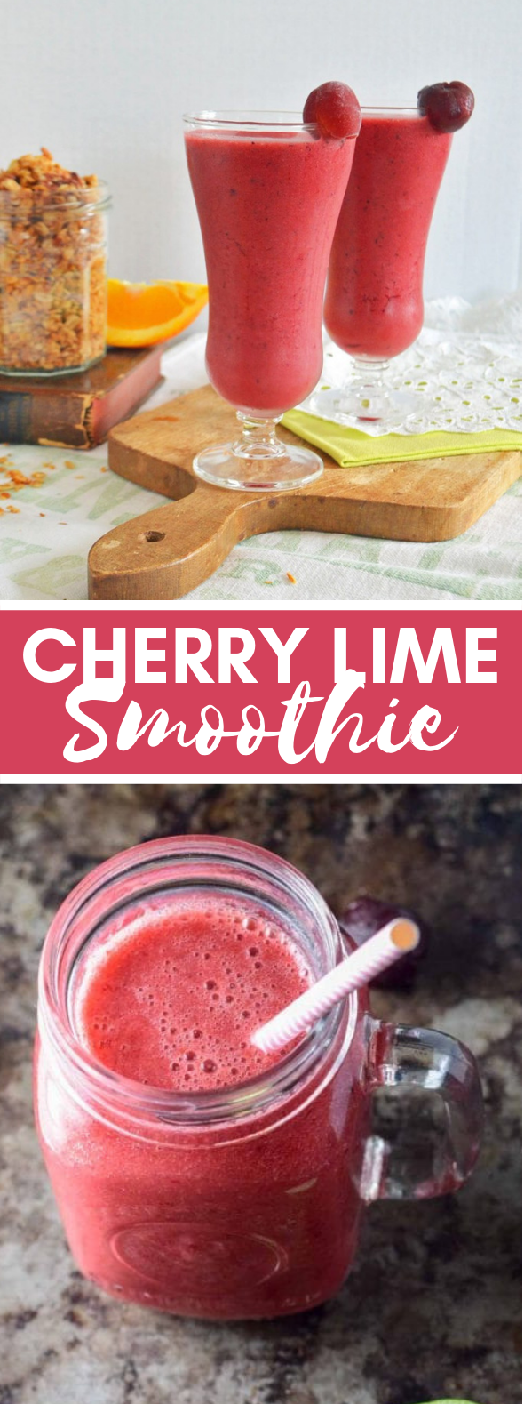 Cherry Lime Smoothie – Dietitian Approved #drinks #valentineday