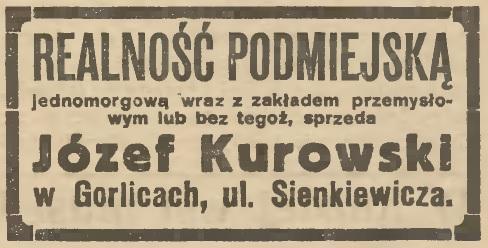 Gorlice realność Kurowski 1925