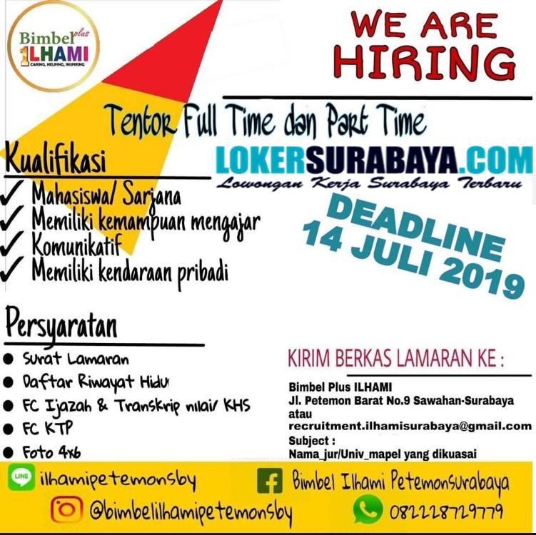 Lowongan Kerja Part Time Di Surabaya 2019 Info Seputar Kerjaan