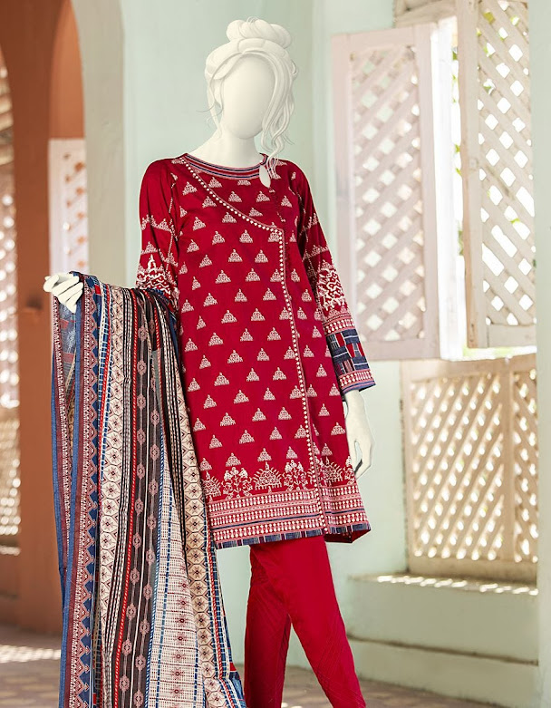 J. Junaid Jamshed winter unstitched collection red printed camrbric suits