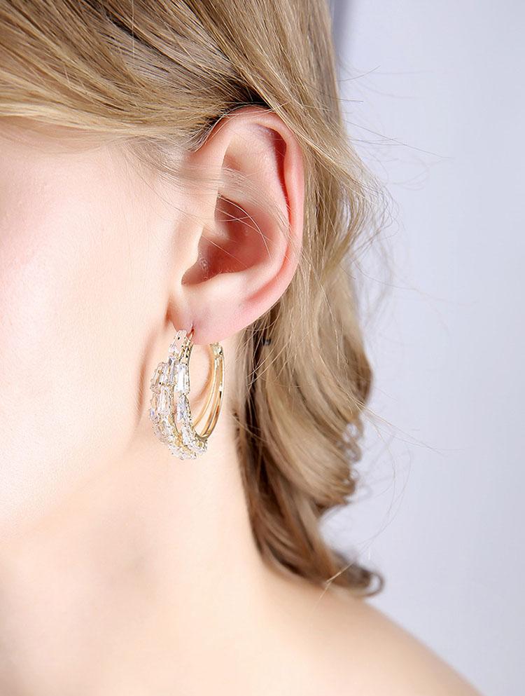 閃耀誇大風三層鋯石圈圈耳環