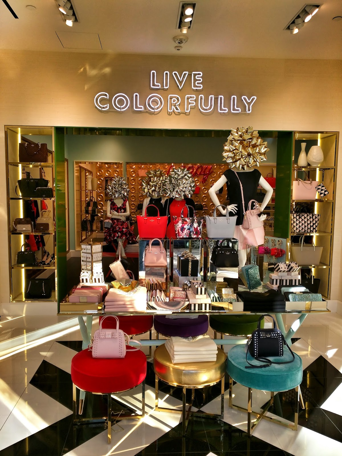 53b6db75451f ... was in my previous sneak preview of the interior. But Kate Spade fans  will likely find the rainbow display of handbag options more than make up  for it.