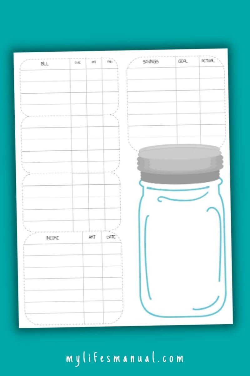 Printable budget planner with savings jar