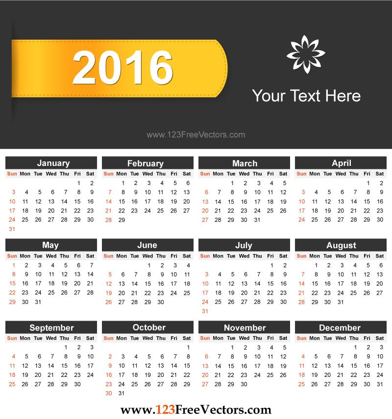 calendar 2016 to print HD