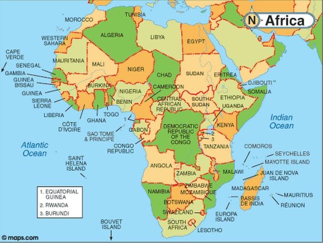 अफ़्रीका महाद्वीप Map