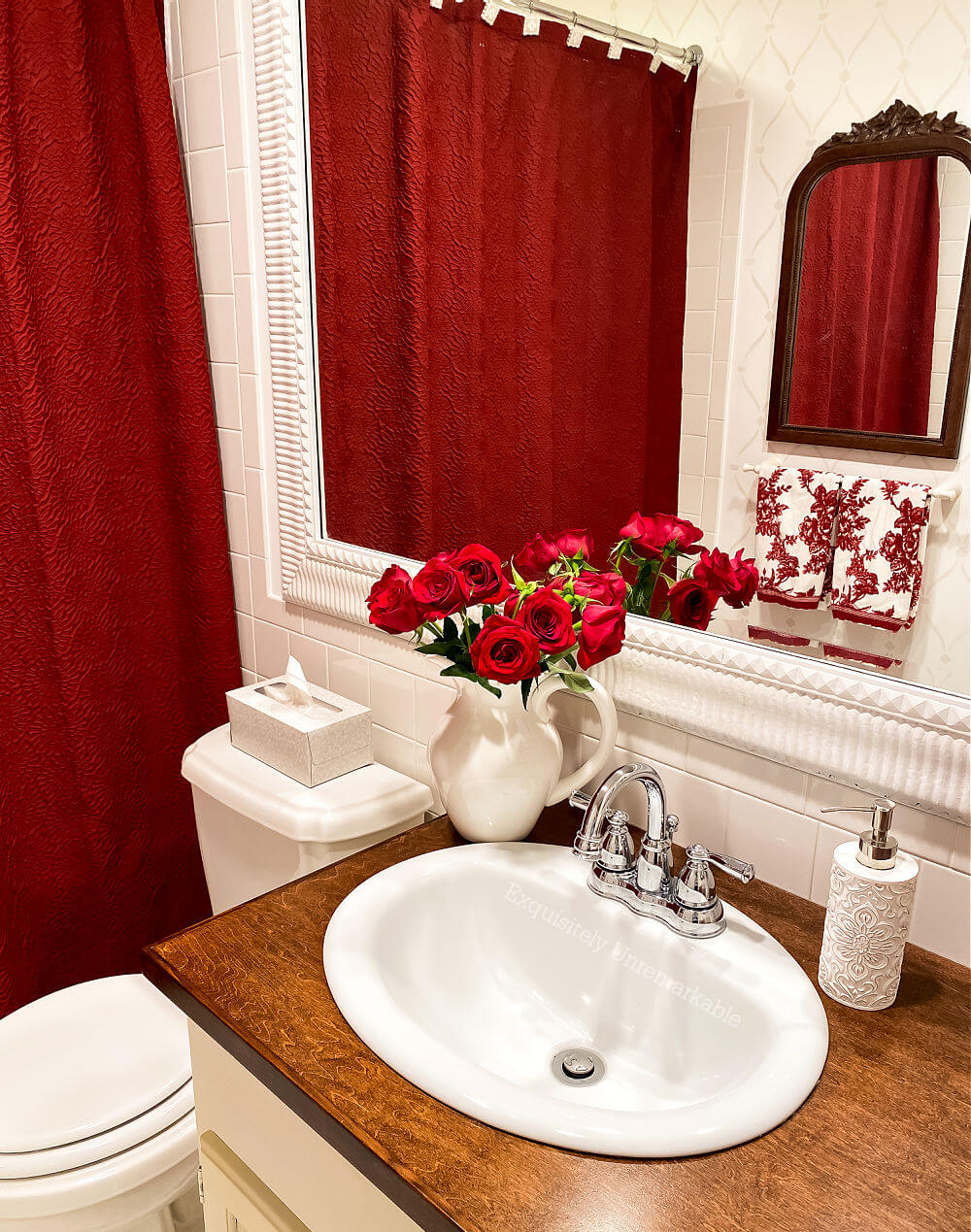 Red Shower Curtain In The Bath
